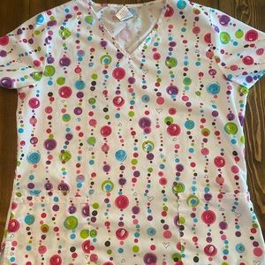 Heart polka dot scrub top
